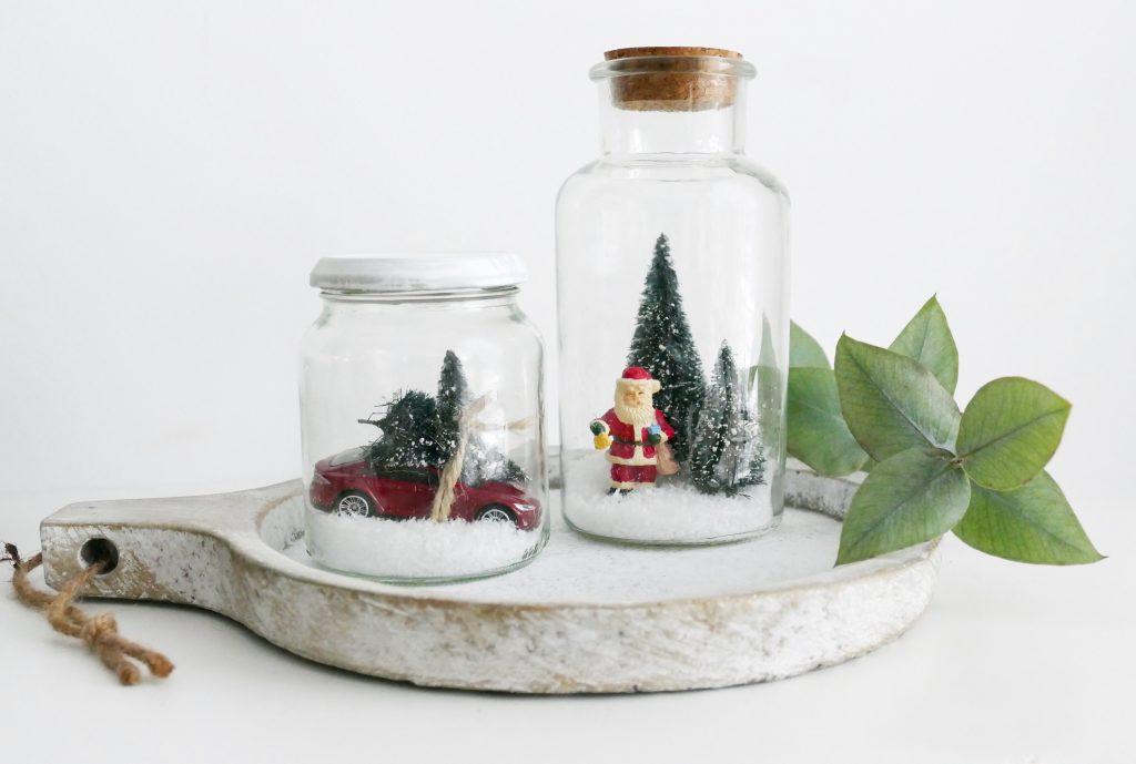 Kerst tafereeltjes in glazen pot