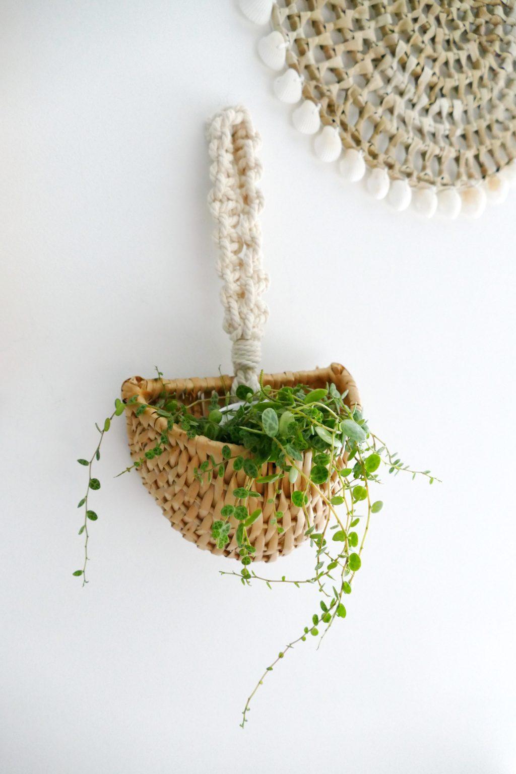 Plantenhanger van riet met macrame lus. Upcycling project met vondst uit de kringloopwinkel