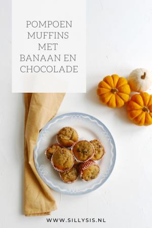 Pompoen muffins met banaan en chocolade