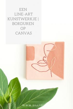 Borduren op canvas   Een line-art kunstwerkje