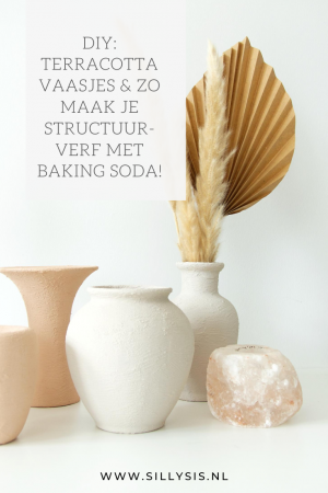 Terracotta vaasjes | zo maak je zelf structuurverf met baking soda