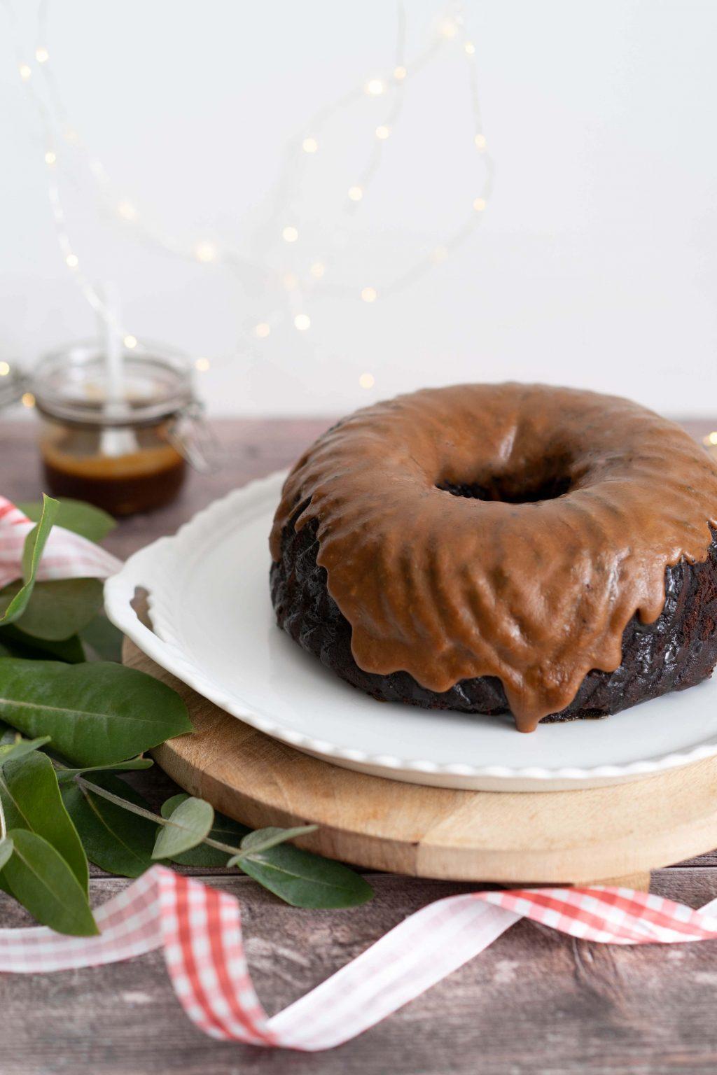 Chocolade-koffie tulband met topping van salted caramel