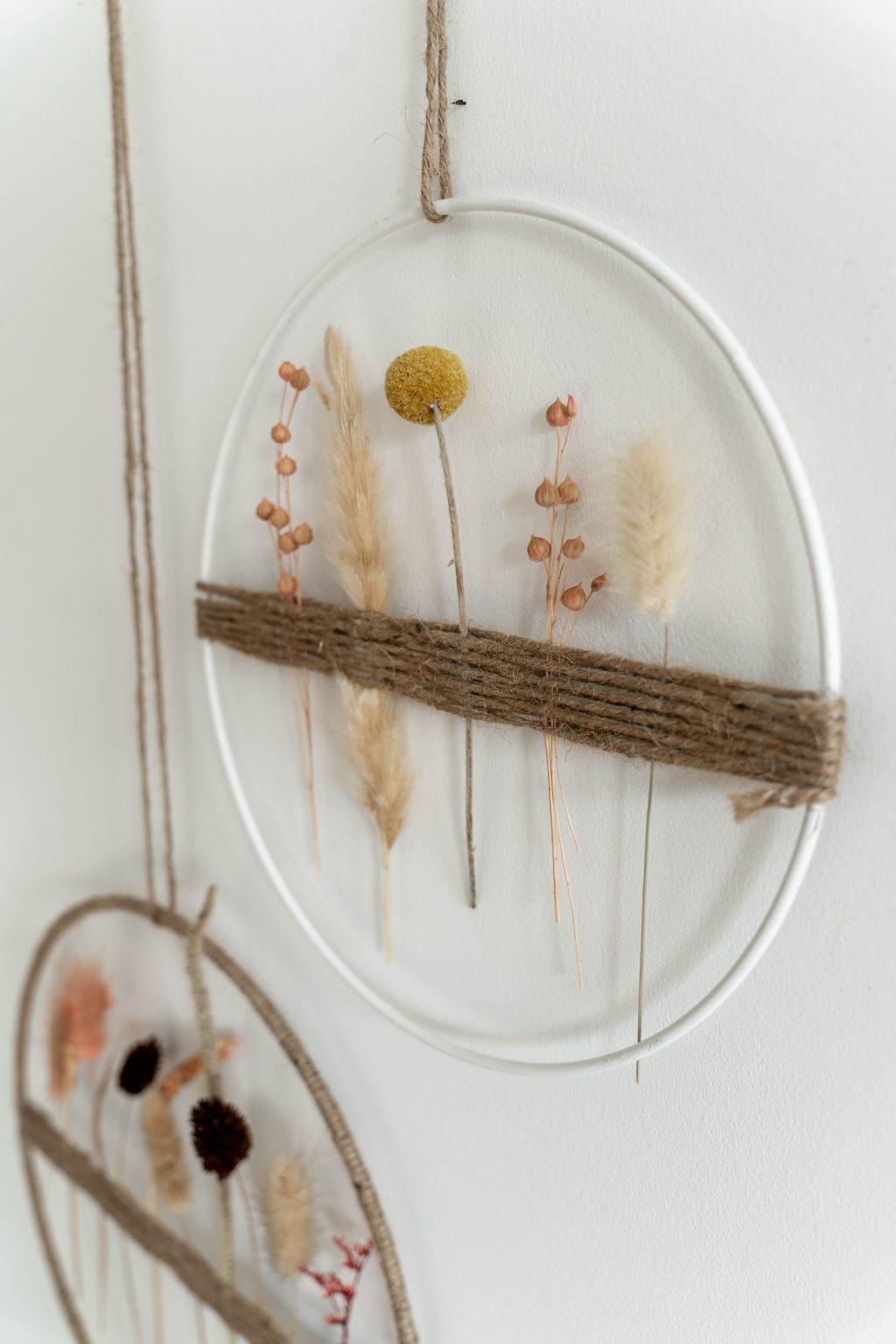Bohemian wandhanger met droogbloemen